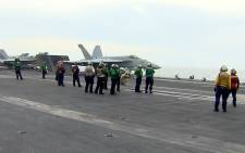 A screengrab of a US aircraft carrier. Picture: CNN