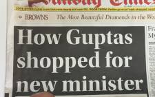 'Sunday Times' headline of the report that the Gupta family offered Mcebisi Jonas the finance minister and then ANC says Deputy Secretary General Jessie Duarte also made him the same offer. Picture: EWN.