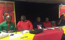 Cosatu, SACP & Sanco secretaries brief the media on their provincial shop stewards council that was held this weekend. Picture: Ziyanda Ngcobo/EWN.