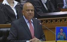 Finance Minister Pravin Gordhan presents mid-term budget policy statement. Picture: YouTube Screengrab