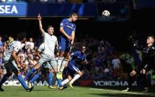 Alvaro Morata scores a goal during Chelsea's clash with Everton. Picture: @ChelseaFC/Twitter.