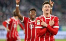 Bayern Munich's Robert Lewandowski celebrates scoring their second goal. Picture: Twitter