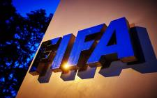 Fifa logo is pictured at the Fifa headquarters on 2 June, 2015 in Zurich. Picture: AFP.