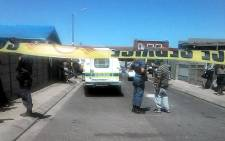Police at Pagonia Street in Mitchells Plain where a murder-suicide took place involving a Cape Town police officer. Picture: Supplied.