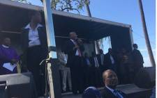 Former president Jacob Zuma thanks his supporters who came out to support him during his court appearance on Friday 8 June 2018. Picture: Qaanitah Hunter/EWN