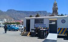 A mobile crime fighting office on the Grand Parade in Cape Town. Picture: Kaylynn Pam/EWN