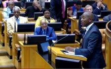 FILE: President Jacob Zuma watches DA Parliamentary leader Mmusi Maimane speak in Parliament. Picture: Screengrab/Supplied.