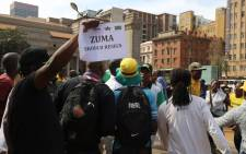#OccupyLuthuliHouse supporters and #DefendLuthuliHouse supporters march at Luthuli House in Johannesburg on 05 September, 2016. Picture: Christa Eybers/EWN.