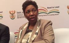 FILE: Basic Education Minister Angie Motshekga speaks to the media during a press conference in Limpopo. Picture: Vumani Mkhize/EWN
