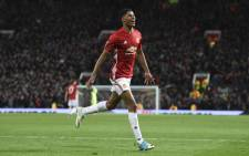 Manchester United's English striker Marcus Rashford celebrates scoring their second goal during the UEFA Europa League quarter-final second leg football match between Manchester United and Anderlecht at Old Trafford in Manchester, North West England, on 20 April, 2017. Picture: AFP.