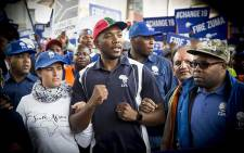DA leader Mmusi Maimane addressed thousands of #DAMarch supporters who marched to Mary Fitzgerald square in Johannesburg against the leadership of President Jacob Zuma on 7 April 2017. Picture: Reinart Toerien/EWN.