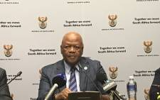 Energy Minister Jeff Radebe briefs the media on the signing of 27 independent power producers on Thursday 8 March. Picture: Lindsay Dentlinger/EWN