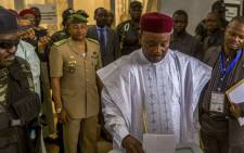 Niger's incumbent president Mahamadou Issoufou casts his ballot in the presidential elections in Niamey, Niger, 21 February 2016. Picture: EPA/ARNE GILLIS