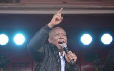 EFF leader Julius Malema addressing supporters the party's Land Expropriation without Compensation rally on 6 April 2018 at the Thembalethu Stadium in George. Picture: Bertram Malgas/EWN.