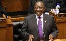 South African President Cyril Ramaphosa delivers the State of the Nation Address at the Parliament on 16 February 2018. Picture: AFP.