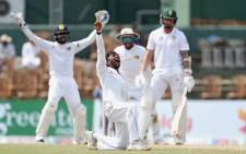 Sri Lanka's Akila Dananjaya successfully appeals for an lbw decision against South Africa's Dale Steyn during the second Test in Colombo. Picture: @OfficialCSA/Twitter