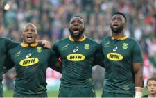 Tendai Mtawarira (Centre) will become only the sixth Springbok and eighth prop ever to reach 100 Test caps. Rassie Erasmus said his contribution to SA rugby during the past decade has been enormous and he congratulated the Beast on reaching 100 Test caps for South Africa. Picture: @Springboks/Twitter