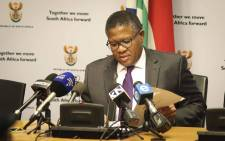 FILE: Police Minister Fikile Mbalula addresses the media at a briefing in Parliament. Picture: Cindy Archillies/EWN