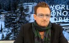 A screenshot of Irish rock star and lead singer of U2, Bono, speaking at the World Economic Forum in Davos, 24 January 2014. Picture: weforum.org.