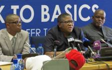 Minister of Police Fikile Mbalula reports back on the Peoples March that took place 7 April. Picture: Louise McAuliffe/EWN.