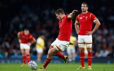 Dan Biggar of Wales kicks a penalty during the 2015 Rugby World Cup Pool A match between England and Wales at Twickenham Stadium on 26 September, 2015 in London. Picture: Rugby World Cup Facebook page.