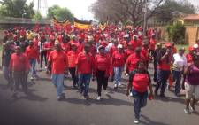 FILE: The National Union of Mineworkers members on strike. Picture: @NUM_Media
