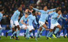 Manchester City players celebrate their victory against Leicester City after a penalty shootout of the English League Cup on 19 December 2017. Picture: Facebook