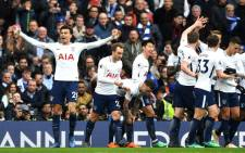 Tottenham Hotspur players celebrate after Dele Alli scored during a match against Chelsea on 1 April 2018. Picture: @SpursOfficial/Twitter.