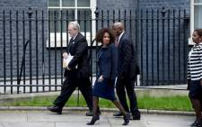 Minister of International Relations and Cooperation Lindiwe Sisulu with Minister Rob Davies, as they make their way to the bilateral meeting with the UK Prime Minister Theresa May and President Cyril Ramaphosa in London. Picture: GCIS.