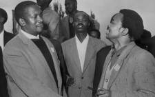 Undated picture of the South African Pan Africanist Congress (PAC) founder Robert Sobukwe (L) with Potlako Leballo (R), member of the PAC. The Pan Africanist Congress (PAC) was a South African liberation movement, founded in 1959 after members of the African National Congress (ANC) broke away from the party. Picture: AFP