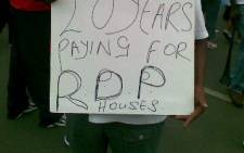 File Picture: Residents demonstrate over RDP houses. Picture: JP Duplesis/Eyewitness News
