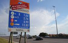 Pricing board for Sanral's e-tolling project.