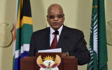 FILE: President Jacob Zuma addressing the nation after meettng with the management and leadership of universities as well as student leaders to discuss the stalemate with regards to university fee increases on 23 October 2015. Picture: GCIS.