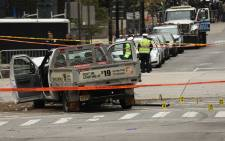 The crashed vehicle used in what is being described as a terrorist attack sits in lower Manhattan the morning after the event on 1 November 2017 in New York City. Picture: AFP