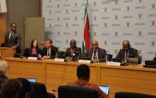 The Treasury team led by Finance Minister Malusi Gigaba (C) briefs the media on a new online portal called 'Vuleka Mali' that allows South Africans to give advice and access more information on the country's budget. Picture: GCIS