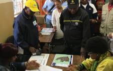 President Cyril Ramaphosa took Mama Winnie Madikizela-Mandela to check on her registration details at a school in Orlando on 10 March 2018. Picture: Ihsaan Haffejee/EWN