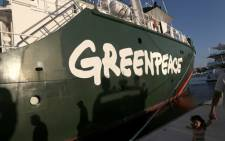 FILE: Greenpeace's Rainbow Warrior campaigning ship docked in Mexico in 2014. Picture: AFP.