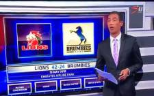 A video screengrab of SuperSport analyst Ashwin Willemse moments before walking off set.