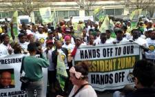 ANC Youth League members and supporters protest outside the Mail & Guardian offices in Rosebank, Johannesburg, 5 June 2014. Picture: Masego Rahlaga/EWN.