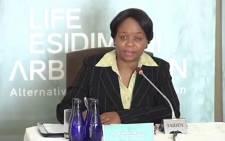 A screengrab of Gauteng Health MEC Gwen Ramokgopa testifying at the Life Esidimeni arbitration hearings in Parktown.