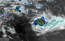 A view from space of severe tropical #CycloneDebbie via the Himawari 8 satellite & an infrared colour enhancement. Picture: Australian Government Bureau of Meteorology.