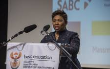 Minister of Basic Education Angie Motshekga announces the 2017 matric results on 4 January, 2018. Picture: Ihsaan Haffejee/EWN