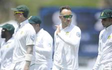 Proteas captain Faf du Plessis leads his team off the field during the first Test match against Sri Lanka in Galle on 13 July 2018. Picture: @OfficialCSA/Twitter