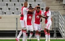 Ajax Cape Town players celebrate Tashreeq Morris's goal against Platinum Stars in the PSL action on 13 April 2016, in Cape Town. Picture: Ajax Cape Town official Facebook page.