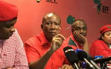 FILE: Economic Freedom Fighters leader Julius Malema (C) pictured during a press briefing. Picture: Kgothatso Mogale/EWN