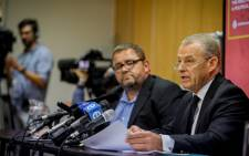AfriForum's Kallie Kriel and Advocate Gerrie Nel announcing the group's plan to privately prosecute Julius Malema. Foto: Rozier van Tonder/AfriForum