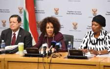 International Relations Minister Lindiwe Sisulu seen during a media briefing on 15 May 2018. Picture: @DIRCO_ZA/Twitter