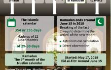 Ramadan, one of Islam's five pillars, and the Muslim calendar that indicates on which day the fasting period is to end this year. Picture: AFP