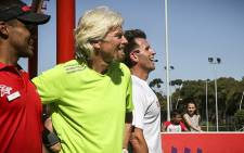 Sir Richard Branson make a surprise visit to the Virgin Active gym in Seapoint today to try out the new exercise programme they have there called 'The Grid'. Branson is pictured with the inventor of the new workout Ceri Hannon (Right). Picture: Thomas Holder/EWN