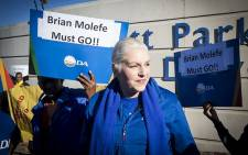 FILE: DA shadow minister of public enterprises Natasha Mazzone at a picket outside Eskom's Megawatt Park offices in Johannesburg on 15 May 2017 against the reappointment of the utility's CEO Brian Molefe. Picture: Reinart Toerien/EWN.